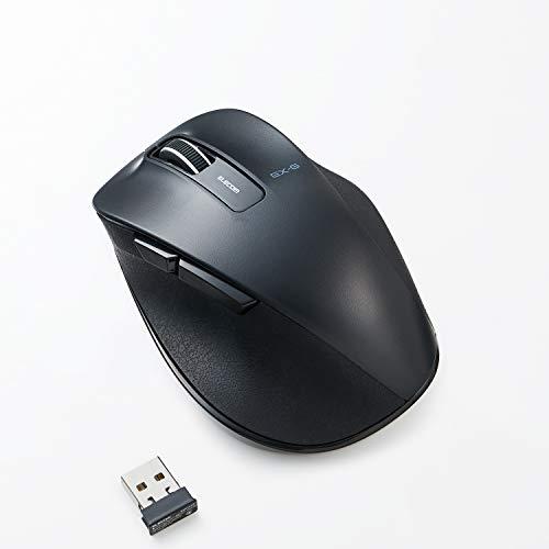 ELECOM Dr.EXG Wireless Mouse 2.4GHz 5 Buttons BlueLED Less Click Noise Mouse/Ergonomic Design/Back Forward Button 2000 DPI Gaming / Medium - Black (M-XGM10DBSBK-US)