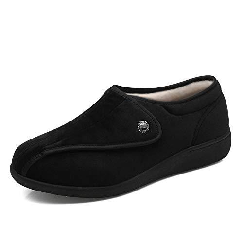 Fit en zacht Comfortabel bovenwerk, halfopenende schoenen van middelbare leeftijd, multifunctionele verpleegschoenen met misvormde voeten - UK5.5_Claret, aanraaksluiting met riempje Gemakkelijk te sluiten laarslipper