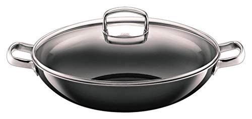 Silit Wok mit Glasdeckel Ø 36 cm, Silargan Funktionskeramik, Schüttrand, induktionsgeeignet, spülmaschinengeeignet, schwarz