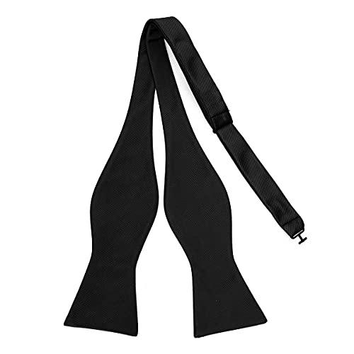 PenSee Mens Solid Bowtie Woven Self Bow Ties Tuxedo Wedding Black Bowties