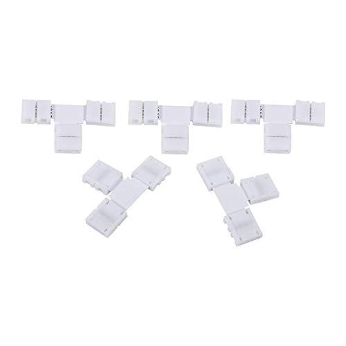 Pragmatic Adaptadores de Conectores de Clip de 4 Pines sin Soldadura con Forma X/T, Chips de PCB de 4 Canales para Tira de luz LED RGB 5050 de 10 mm(T Shape)