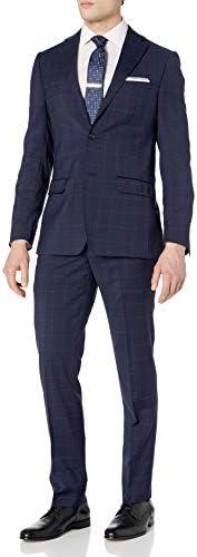 DKNY Men s Slim Fit Soft Suit Navy Plaid 40L product image