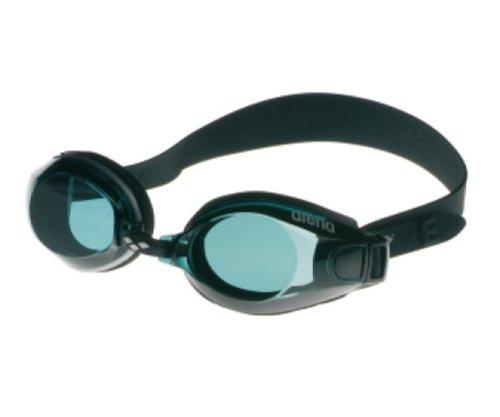 arena Unisex Training Freizeit Schwimmbrille Zoom Neopren (UV-Schutz, Anti-Fog Beschichtung, Für Allergiker), schwarz (Black-Smoke-Black), One Size