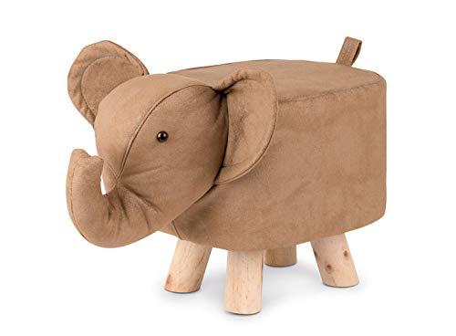 COZY NOXXIEZ Kinder Hocker Kinderzimmer Möbel - Kleiner Hocker als Kinderstuhl oder Fußbank, tolle Zimmer Deko in Tier Optik mit Füßen aus Deko Holz (Elefant)