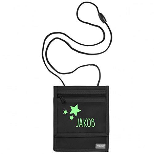 Brustbeutel mit Namen | Motiv Sterne inkl. Namensdruck personalisiert & Bedruckt | Geldbörse Kindergeldbeutel Münzfach für Kinder Jungen Mädchen mit Klettverschluss zum Umhängen (schwarz)