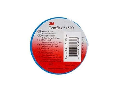3M TBLA1925 Temflex 1500 Vinyl Elektro-Isolierband, 19 mm x 25 m, 0,15 mm, Blau