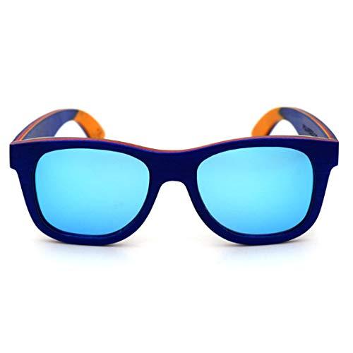 Minicocock La Lente Color protección UV400 Unisex-Adulto de Colores de Madera Retro del Estilo de Manualidades con Borde de Las Gafas de Sol (Color : Blue)