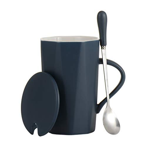 Winlauyet Winlauyet - Taza de café de cerámica con tapa y cuchara, 350 ml, con caja de regalo (azul)