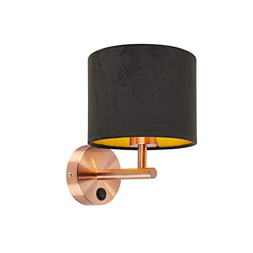 QAZQA Modern Klassieke wandlamp koper met zwarte velours kap - Matt Metaal/Stof Rond Geschikt voor LED Max. 1 x 60 Watt