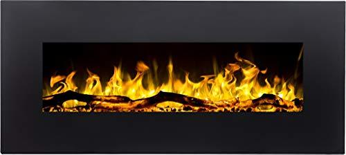 Chimenea eléctrica Albion | Chimenea de pared (750 W o 1500 W) | Simulación de fuego LED | Profundidad solo 14 cm… (90x42x14)