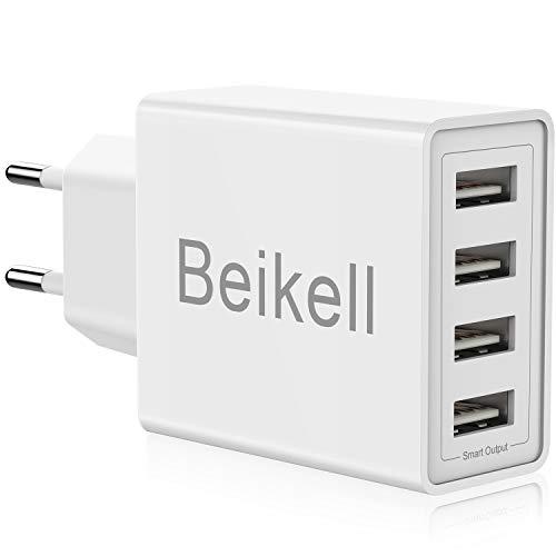 USB Ladegerät, Beikell 4-Ports High-Speed Ladeadapter USB Netzteile mit Smart Device-Adaptive Technologie 5A/25W für iPhone, iPad,Galaxy, Bluetooth Kopfhörer usw.