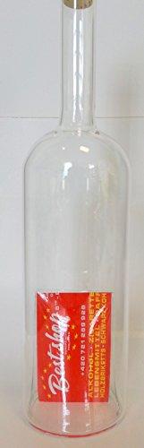 Oberstdorfer glazen karaf met inschuifopening onder voor reclame, visitekaartjes, geld of tegoedbonnen, decoratieve fles, mondgeblazen, vulbaar, inhoud 0,5 liter, hoogte 30 cm