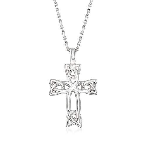 Ross-Simons Sterling Silver Celtic Trinity Knot Cross Pendant Necklace. 18 inches