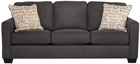 Best Signature Design by Ashley - Alenya Queen Size Sleeper Sofa w/ 2 Throw Pillows, Charcoal