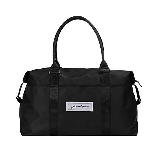 YAOUYYYSN Bolsa de viaje femenina, portátil, ligera, bolsa de almacenamiento de viaje de corta distancia, bolsa de equipaje con gran capacidad, color negro (se puede hacer geezog) grande