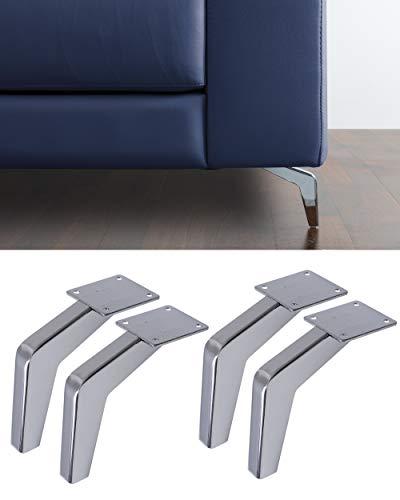 Ipea - Juego de 4 Patas para sofás y Muebles Modelo Fire – Juego de 4 Patas de Hierro – Diseño Moderno y Elegante Color Plateado Cromado, Altura 130 mm