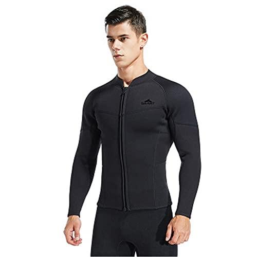 FR&RF Traje de neopreno de manga larga de 3 mm para hombre, color negro, protector solar UV Surfing Keep Warm Jacket para buceo, natación, mono camisa, M