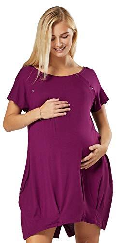 HAPPY MAMA Damen Geburtskleid Krankenhaus Umstands Nachthemd Stillfunktion. 097p (Pflaume, 38-40, S)