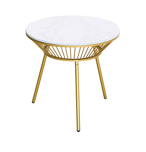 C-S-Qing-Desk Coffee Shop Bar Table, Marble Finish Metal Small Round Table Living Room Balcony Open Air Restaurant Dining Table(Size:55 * 55 * 55CM,Color:White)
