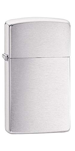 Zippo Zippo Feuerzeug 60001178, Slim Benzinfeuerzeug, Messing, brushed chrome, 1 x 3,5 x 5,5 cm Brushed Chrome