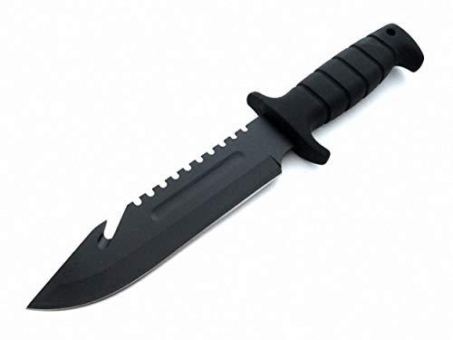 multifunktionales 29cm Black Bowie Messer - Seilcutter - Sägezahnrücken - Jagd - Survival - Outdoor - Camping - Angel - Überlebensmesser