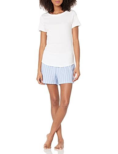 Amazon Essentials Poplin Short and Sleep tee Set Camisa de Noche, Blanco Brillante/Azul/Blanco, con Textura/Rayas, M