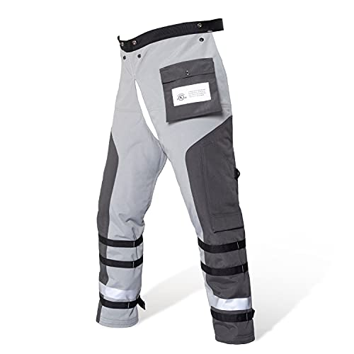 YARDMARIS Technical Wrap Chainsaw Chaps by UL Class A 8 Layers Chainsaw Pants Apron Style Black Gray