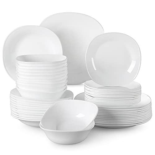 MALACASA, Serie Esmer, 48 tlg. Set Opalglas porzellanartiges Geschirrset Tafelservice Kombiservice Tellerset Essgeschirr mit je 12 Speiseteller, 12 Dessertteller, 12 Suppenteller, 12 Schüsseln