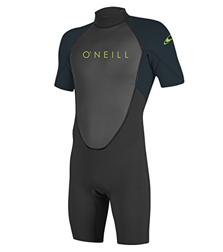 O'Neill Youth Reactor-2 2mm Back Zip Short Sleeve Spring Wetsuit, Black/Slate, 8