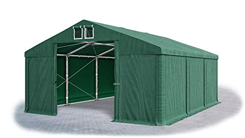 Das Company Lagerzelt 5x6m wasserdicht dunkelgrün Zelt 560g/m² PVC Plane ganzjährig Zelthalle Winter Plus SD