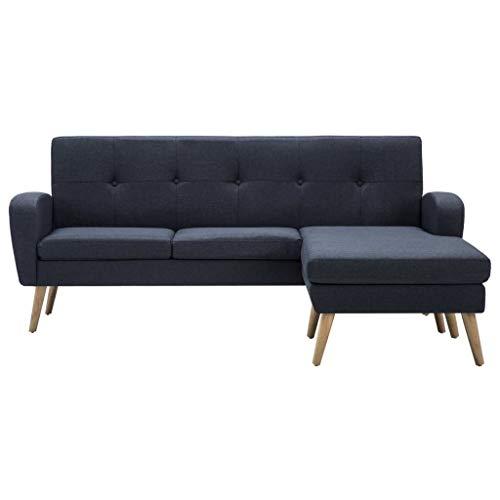 Canapé d'angle Gris Tissu Contemporain