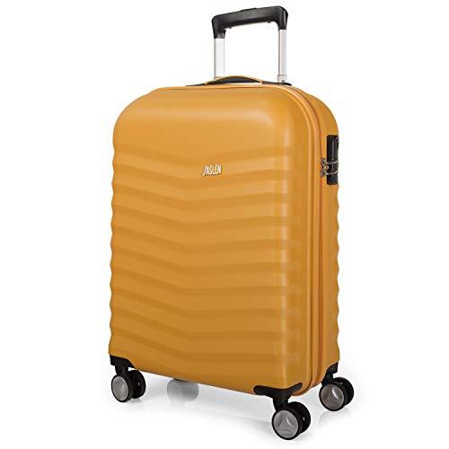 JASLEN - Maleta de Viaje Cabina Rígida 55x40x20 cm 4 Ruedas Trolley ABS Liso. Equipaje de Mano. Resistente y Ligera. Mango y Asa. Candado. Low Cost Ryanair. No Facturar. 52650, Color Mostaza