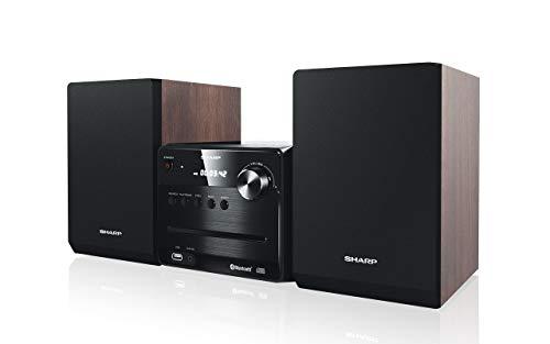 Sharp XL-B510(BR) - Microcadena Bluetooth, Radio FM, reproductor de audio USB, CD / CD-R / CD-RW, MP3, 3,5 mm Aux in, 40 vatios de potencia, altavoces de madera para mejor resonancia, color marron
