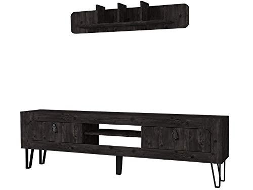 Alphamoebel 5101 Emerald Wohnwand Tv Board Lowboard Regal hängend Sideboard Metallfüße, Wohnzimmer, Holz, Rebab Dunkelgrau Braun, Wandregal Metallrahmen, mit Türen, 180 x 55 x 30 cm
