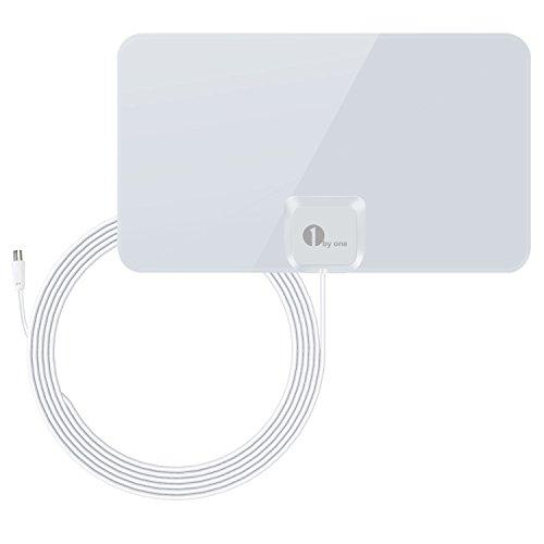 1byone DVB-T/DVB-T2 Zimmerantenne für kompatible Fernseher, Papierdünne Antenne (0,7mm) für VHF/UHF/FM, Hauchdünn für besten Empfang, Antenne mit 4m High Performance Kabel - glänzend weiß
