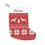 Calcetín de Navidad con diseño de silueta de perro ibicenco, calcetín de Navidad rojo, poliéster, decoración colgante para chimenea, árbol de Navidad, fiesta de vacaciones, 20,3 x 40,6 cm