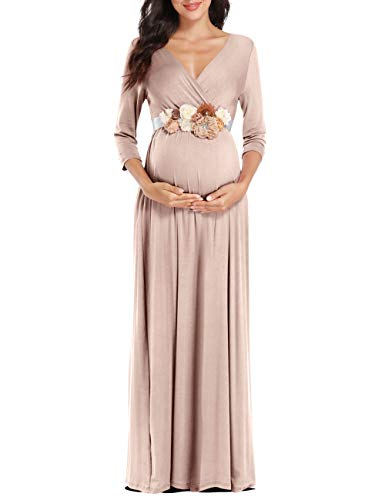 KIM S Maternity Dresses for Baby Shower Maxi Dress for Wedding Beige Medium