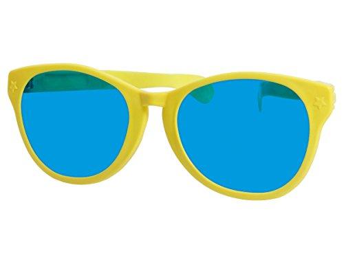 Alsino Funbrille Jumbo Partybrille Riesenbrille Spaßbrille Karneval Fasching Party Clown Brille F-049, wählen:gelb