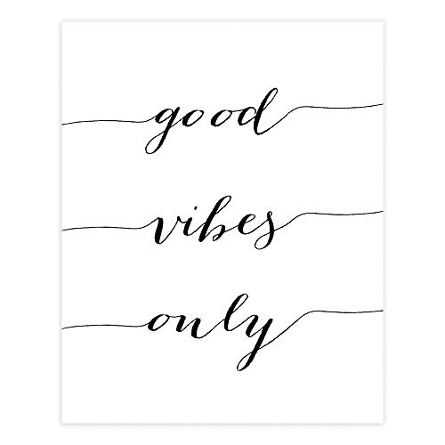 Good Vibes Only Calligraphy Art Print - Unframed - 8x10 | Inspirational Quote