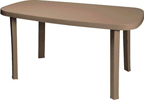 PLASTICA ALTO SELE OTELLO Taupe Table Ovale 140x90 cm Taupe, Multicolore, 136, 0000 x 82, 0000 x 6, 0000 cm