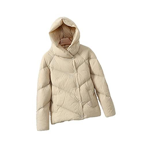 90% biała kurtka puchowa z kapturem płaszcz zimowy kobiety miękkie ciepłe kobiece krótkie grube parki puchowe luźne ubrania z piór - beżowy, M