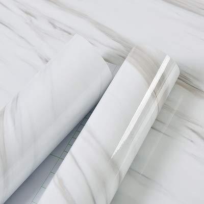 AWNIC Carta Adesiva per Mobili Pellicola Jazz Bianco Marmo Elegante/Mobili Adesivi Impermeabili a Prova d'olio per Il Rivestimento di mobili/Armadio Tavolo Bagno Cucina Decorazione 500x60cm