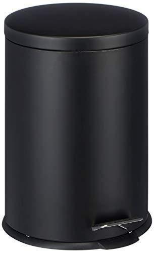 MSV Mülleimer 20 Liter Treteimer Abfalleimer Schwarz aus Metall schwarz
