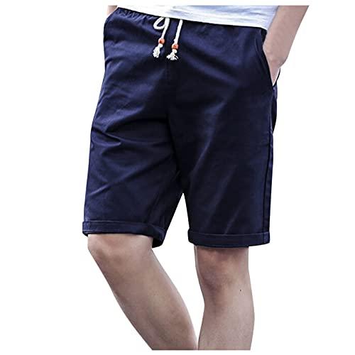 Qsctys Cotton Linen Elastic Waistband Shorts for Men, Summer Soft Training Jogger Quick Dry Sleep Lounge Short Pants Blue