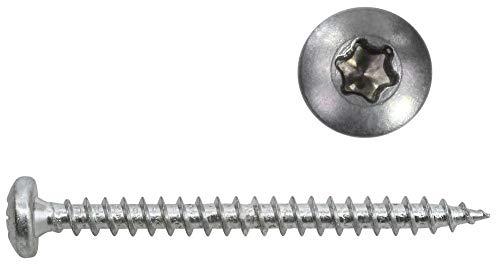 Panhead Schrauben Edelstahl 4x50 mm - 200 St. Vollgewinde Holzschrauben Torx A2