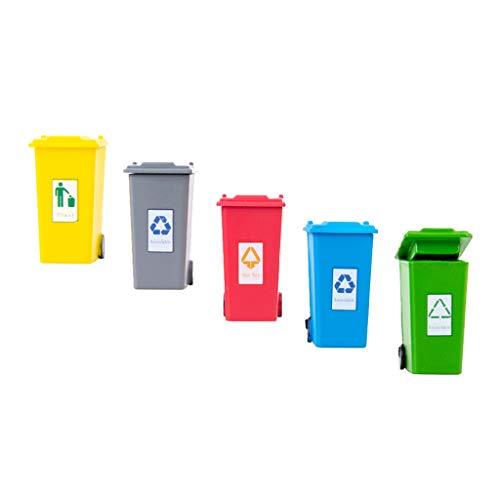 Perfeclan Paquete de 5 Cubos de Basura para niños para Juguetes de Camiones de Basura, Mini Cubo de Basura de plástico de Juguete Cubo de Basura para niños - 1:87