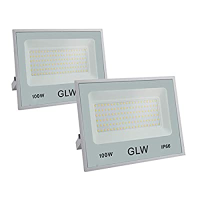 GLW LED Flood Light,100W Outdoor Super Bright Security Lights,3000k 10000LM Warm White with Plug,IP66 Waterproof Outside Work Light for Garage,Playground,Yard and More [2 Pack]