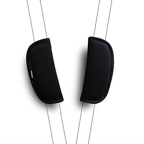 2 Piezas CocHecito de Bebé, Cubierta Del Cinturón de Seguridad Del Coche Amortiguador Universal de la Correa Cubiertas de la correa (Negro)