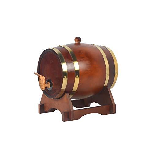HWhome Barril De Envejecimiento De Roble, Dispensador De Whisky De 3L / 5L / 10L con Soporte De Roble Adecuado For Almacenar Cerveza Whisky Sidra Vino Ven con Un Botellero(Botellero Gratis)(Size:5L)
