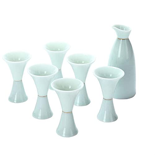 Botellas y juegos de sake Jade Celadon Glaze Wineware Cerámica Hip Frasco Hogar simple Hip Frasco Vidrio de vino 1x botella de vino 6x taza